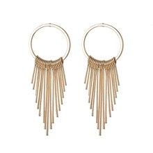 Temperament Simple Korean Earrings 2020 Gold Color Metal Geometric Circle Tassel Earrings For Women Fashion Jewelry new korean fashion earrings simple gold geometric wave temperament pearl pendant wholesale trendy earrings