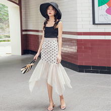 Spring and summer new style Polka dot mesh skirts Slim mid-length sexy irregular fishtail