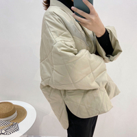 Northern European short front rear long loose profile fall shoulder coat polperro Quilted Cotton Jacket