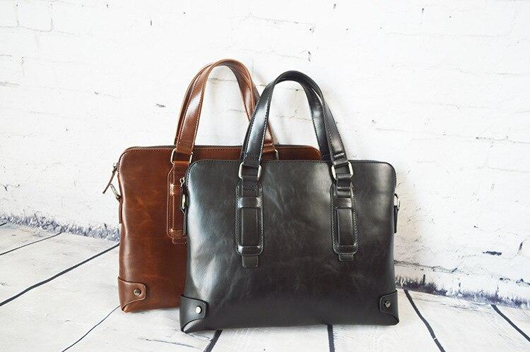 Retro Solid Color Business Casual Men's Shoulder Bag Slung Briefcase Computer Bags