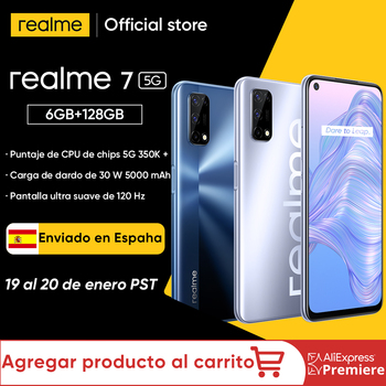 Pre-sale ship from ES realme 7 5G Dimensity 800U Smartphone 6GB 128GB 120Hz Display 48MP 5000mAh Global Version 30W Dart Charge