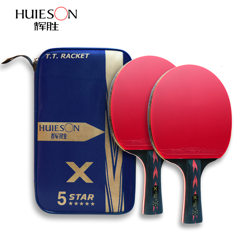 Huieson 5 Star Table Tennis Racket Short Long Handle Carbon Blade Rubber With Double Face Pimples-in Ping Pong Rackets With Case