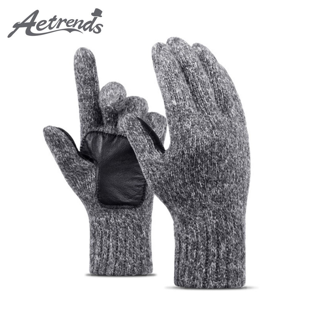[AETRENDS] Winter Wool Knit Gloves Sport Windproof Thick Soft Warm Gloves Great Gift For Men And Women O-0057