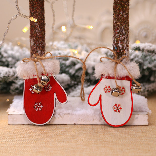 2pcs/set Wooden Snowflake Gloves Sleigh Bells Hanging Pendant Christmas Tree Decoration Ornaments Christmas Decorations for Home 16