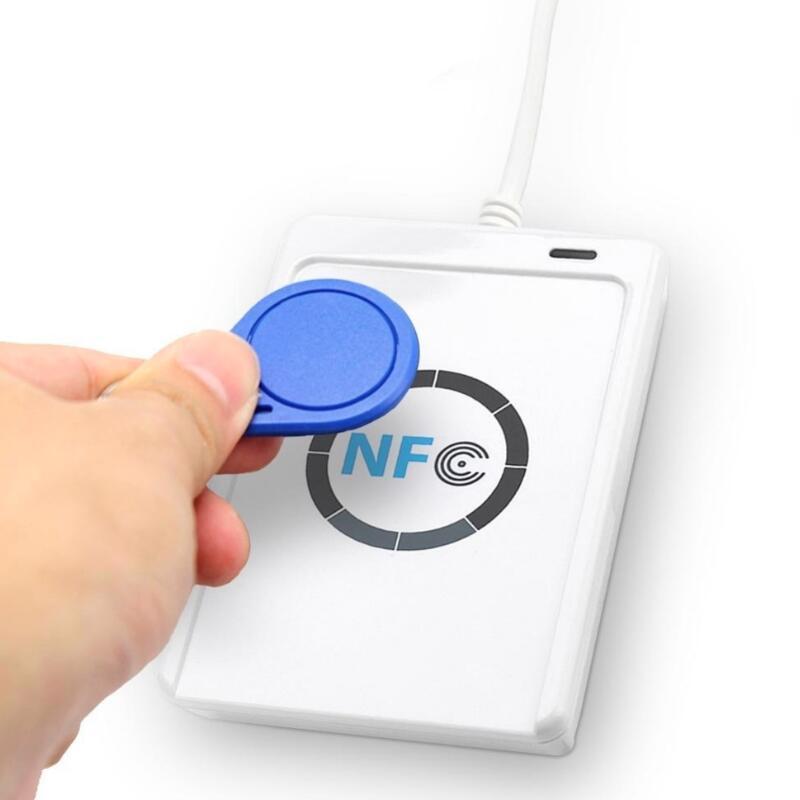 Lector de Tarjetas Inteligentes RFID, escritor, copiadora, duplicador, Software de clonación escribible, USB S50 13,56 mhz ISO/IEC18092 + 5 tarjetas M1 NFC ACR122U 10 duplicador de copiadora RFID de frecuencia inglesa 125 Khz llavero NFC lector escritor 13,56 MHz programador cifrado USB UID copia Etiqueta de tarjeta