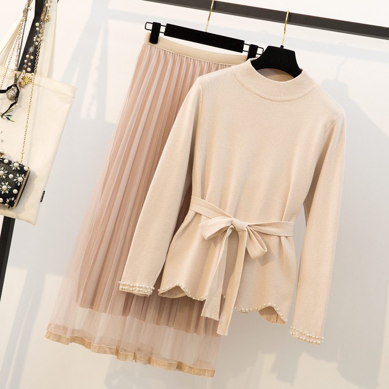 Photo Shoot Large Size Dress Fat Mm Spring Clothing Western Style Cover Meat Set Chubby Slimming Sweater Skirt Online Celebrity