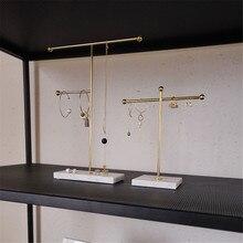 Support de rangement nordique en métal doré avec Base de marbre, Ins chics, bijoux modernes, bagues, colliers, présentoir de boucles doreilles, décor de bureau, support étagères