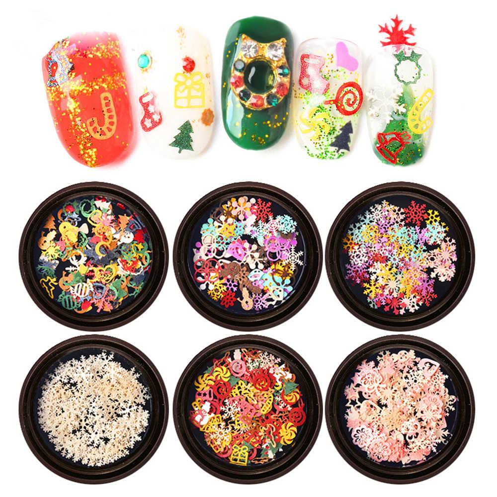 1 коробка микс Рождественская Снежинка Рождественская елка Звездные огни Голо ногтей Блестки для ногтей художественные наклейки в виде кусочков украшения 3D Рождественские хлопья