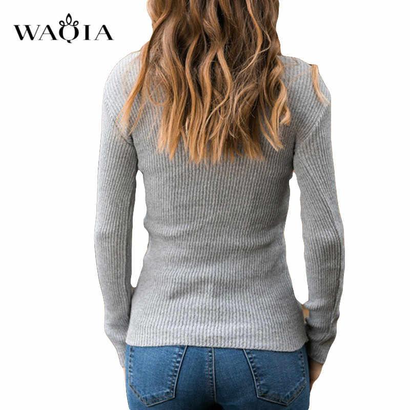 Suéter delgado de mujer 2019 Otoño Invierno sólido de manga larga suéter de cuello alto Mujer Casual suelto Jersey de punto