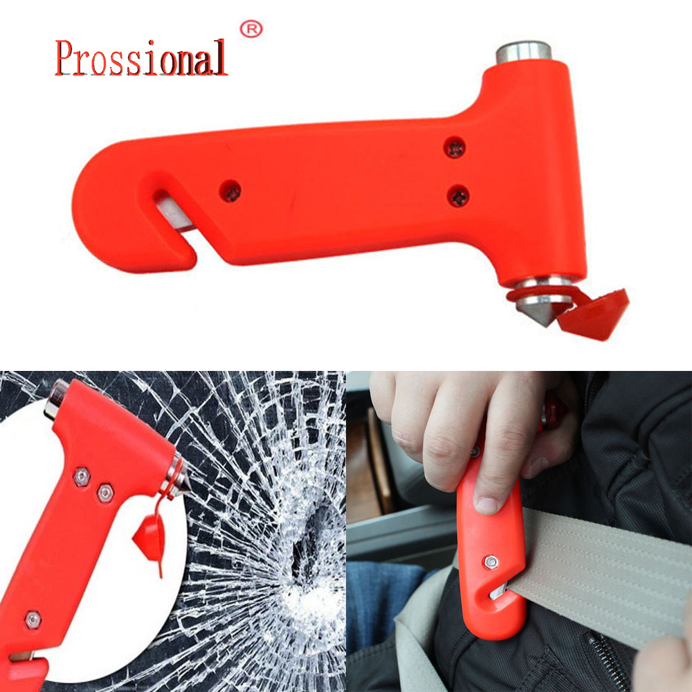Mini Car Safety Hammer Life Saving Escape Emergency Hammer Seat Belt Cutter Window Glass Breaker Car Rescue Red Hammer