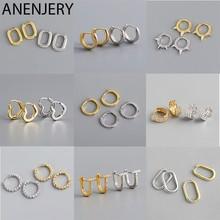 ANENJERY aro-pendientes de plata de primera ley diseño geométrico para mujer, aretes pequeños, aros pequeños, plata esterlina 925, estilo francés, Punk, Hip Hop, fiesta