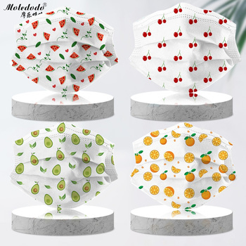 Children Watermelon Print Mouth Mask Kids Disposable 3 Layer Meltblow Cloth Dustproof Breathable Cherry Fruit Face Mask