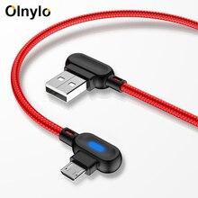 Olnylo 90度マイクロusbケーブル高速充電データ同期usb充電ケーブルhuawei社htcのandroid携帯電話マイクロusbケーブル