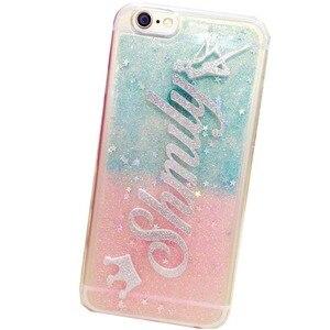 Image 2 - Dla iPhone 11 12 Mini Pro 6s 7 8 Plus X XS MAX XR luksusowe ekskluzywne dostosuj imię osobiste brokat blask miękki futerał na telefon