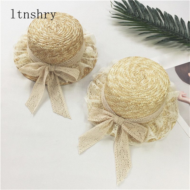 Parent-child Fashionable Summer Sun Hats New Ladies Women Casual Bowknot Lace Ribbon Straw Hats Visor Cap For Holiday Seaside