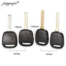 Jingyuqin 1/2 ด้านข้างปุ่มREMOTE Key SHELLสำหรับTOYOTA Carina Estima HARRIER Previa Corolla CelicaกรณีTOY43/Toy40 ใบมีด