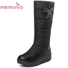 цена MEMUNIA Snow boots women platform shoes woman winter boots keep warm mid calf boots down PU leather rhinestone half boots онлайн в 2017 году