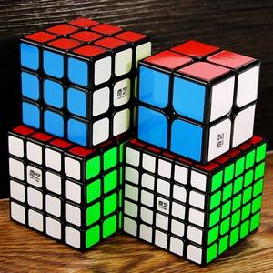 Image 3 - Qiyi Cube magique professionnel 2x2 3x3 4x4 5x5, Puzzle guerrier avec 2x2x2 3x3x3 4x4x4, jeu sans autocollants jouet de Cube