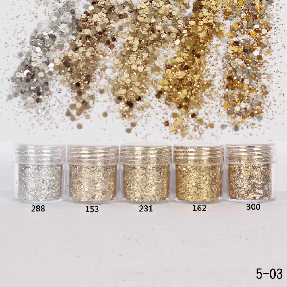 Ultrathin เลื่อม 1 กล่อง 10ml แชมเปญ Silver GOLD ผสม Glitter Powder Sequins ผงเจลตกแต่งเล็บ DIY CRAFT อุปกรณ์