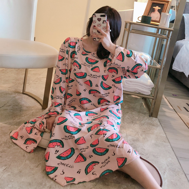 Nightgown Women's Spring And Autumn Long Sleeve Korean-style Fresh Students Cute Watermelon Long Skirts Loose And Plus-sized Paj