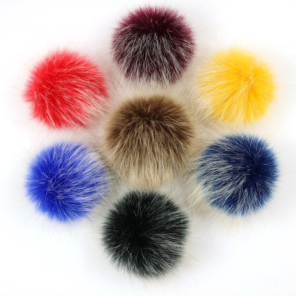 Colorful 10cm Big Natural Raccoon Fur Pompon Foxes Fur Pompom For Women Hat Fur Pom Poms For Hats Caps For Knitted Hat Cap