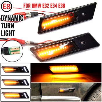 For BMW E32 E34 E36 Side Lights Streamer Models Smoked Shell Cover Led Dynamic Turn Signal Light Marker Sequential Blinker Lamp image