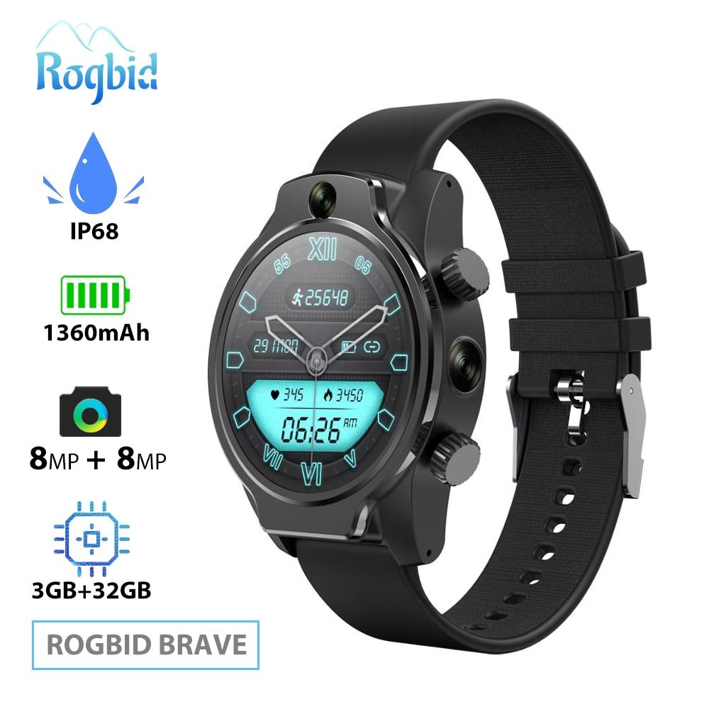 Rogbid 4G Smart Watch Phone SIM GPS WIFI Smartwatch Men 3GB 32GB IP68 Waterproof Dual HD Camera 8MP + 8MP Face ID for Android