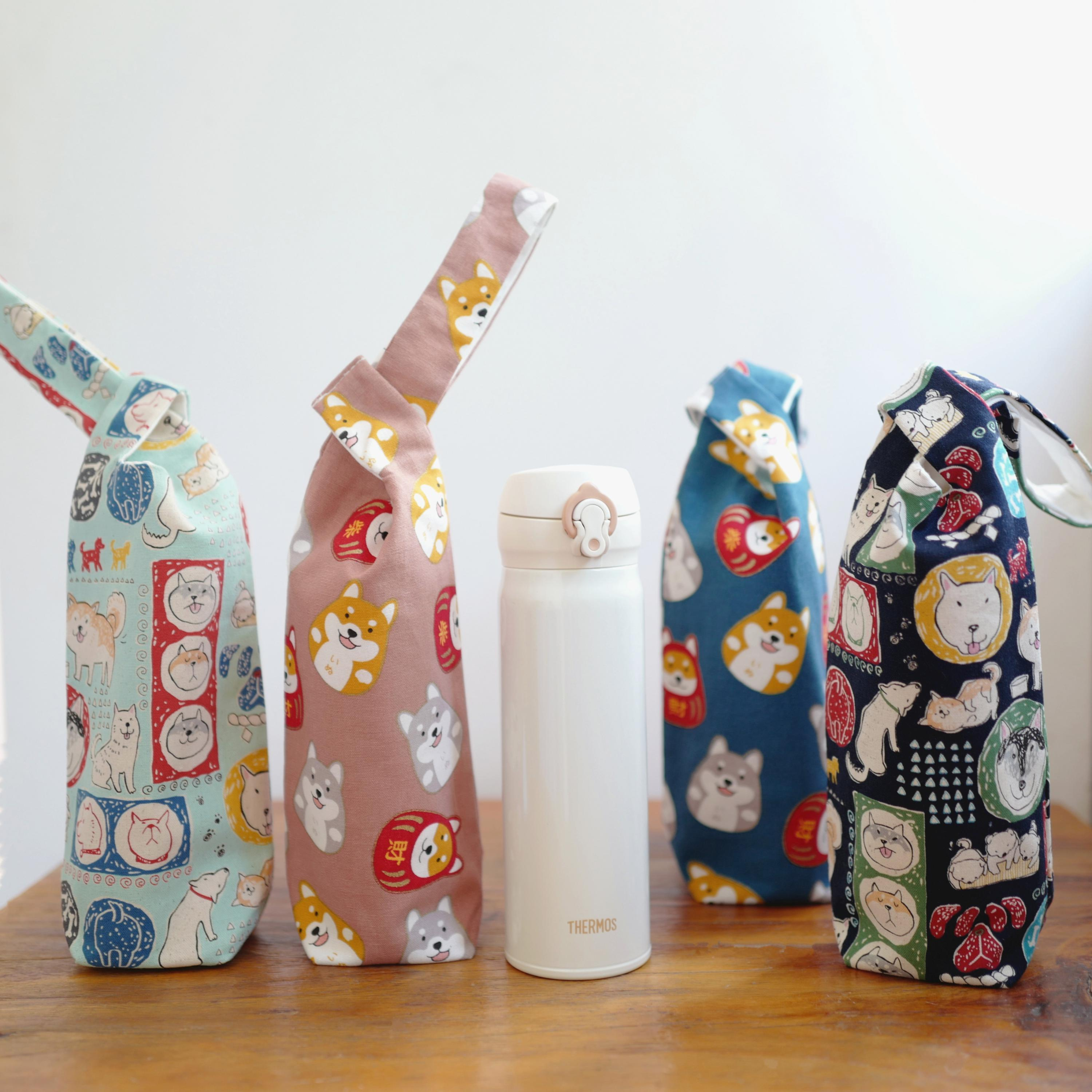 Handmade Japanese Style Portable Cup Bag Cute Dog Pattern Cup Set Cartoon Water Bottle Bag Daily Tote Bag  Drawstring Bag