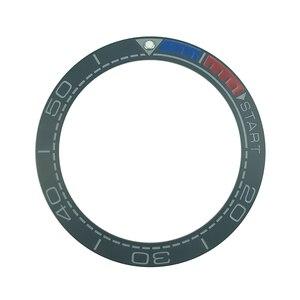 Image 3 - Nowy 41.5mm matowy czarny/niebieski i 1/4 pomarańczowy ceramika o wysokiej jakości wkładka Bezel dla Sea master Watch zegarki wymienić akcesoria