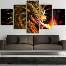 5 Stuks Fire Dragon Canvas Wall Art Olieverf Cartoon Posters Foto 'S Voor Thuis Kamer Cool Awesome Decor Dier Wallpapers(China)