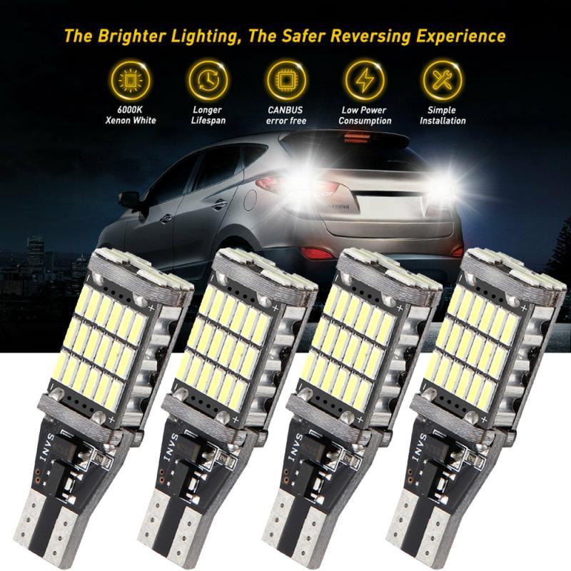4pcs Super Bright T15 W16W Canbus 1200Lm 4014 45SMD CANBUS Car Reserve Lights Bulb Tail Lamp Xenon White LED Reversing Bulb PTCS