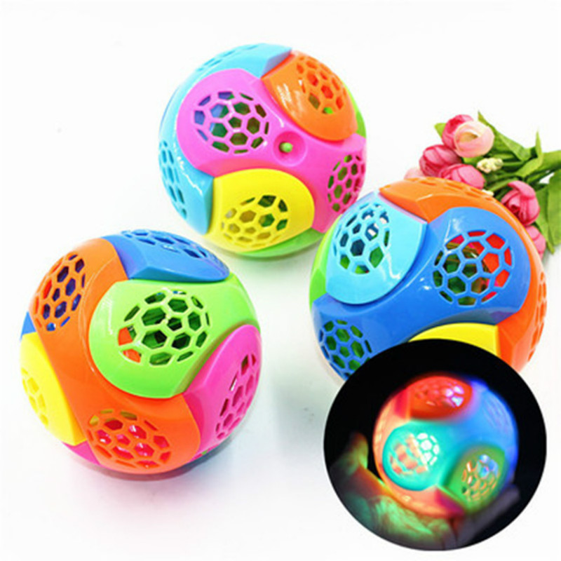 Baby DIY Assemble Colorful LED Light Jumping Ball Kids Music Bouncing Ball With Rope Children Luminous Funny Toy Christmas Gift