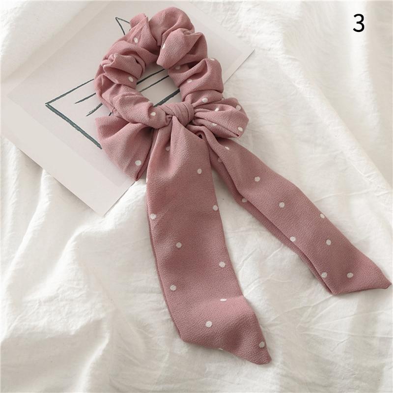Femmes banderoles chouchous à pois imprimé Floral élastique noeud cheveux corde fille cheveux cravates coréen doux cheveux accessoires chapeaux 29