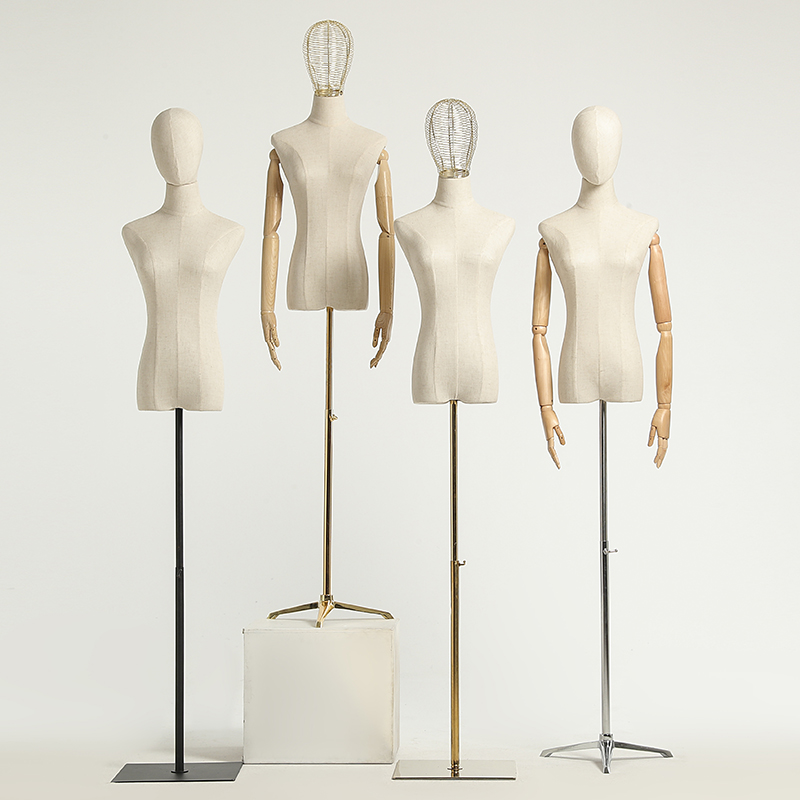 Female Mannequin Head Model Torso Plastic Dress Form with Stand