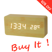 Alarm-Clock Watch Table Desktop-Clocks Digital Electronic Wooden Despertador LED Voice-Control