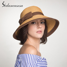 Sedancasesa Summer Handmade Bow Straw hat womens Garland sunbonnet bucket roll-up hem beach cap sun for women SW105082