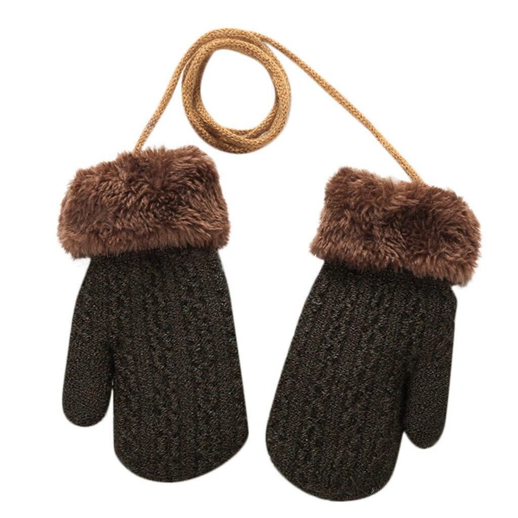Теплые зимние Лоскутные рукавицы для маленьких девочек и мальчиков; милые детские перчатки; теплые зимние перчатки на весь палец - Цвет: Кофе