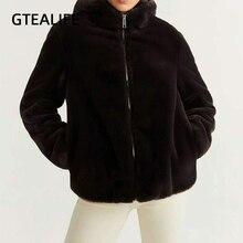 Coat Gtealife Jacket Hooded Faux-Fur Long-Sleeve Warm Winter Fashion Women's Y2k Thicken