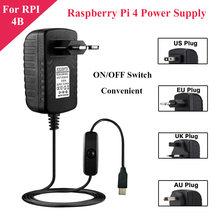 5V 3A Raspberry Pi 4 Power Supply with ON/OFF Switch EU US UK AU USB-C Power Adapter Charger for Raspberry Pi 4 Model B 4B