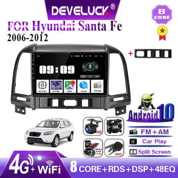 4G+64G Android 10.0 car radio For Hyundai Santa Fe 2006-2012 2 din DSP+48EQ GPS navigation multimedia video player 4G net WIFI image