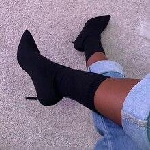 סקסי גבוהה עקב מגפי גרב נשים של מעצבי יוקרה קרסול מגפי 2019 אופנה נעלי עקבים דקים נשים נעלי נקבה סתיו