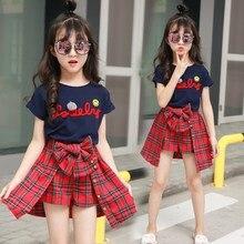 Conjunto de ropa de verano para niñas, ropa de Boutique, camiseta + camisa a cuadros, de 2 a 15 años, 2020