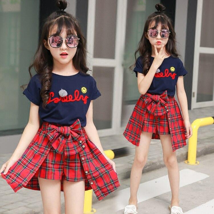 2020 nova moda verão meninas conjunto de roupas criança verão meninas boutique outfits camiseta + camisa xadrez 2 a 15 anos
