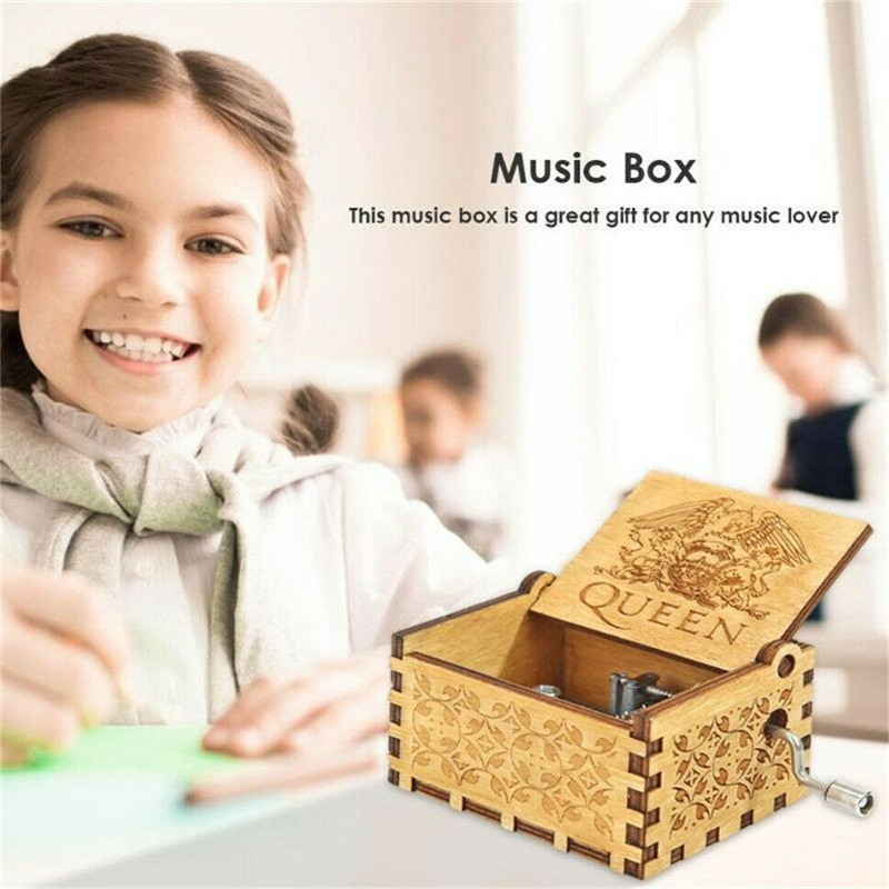 Antique Carved Wooden Box Hand-Cranked Music Box Wooden Engraved Queen Design Bohemian Rhapsody For Kid Boy Girl Children