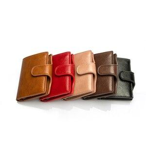 Image 3 - BISI GORO Mini portefeuille Anti vol, porte cartes intelligent RFID, étui à cartes unisexe Vintage, sac dargent solide, Dropshipping 2020