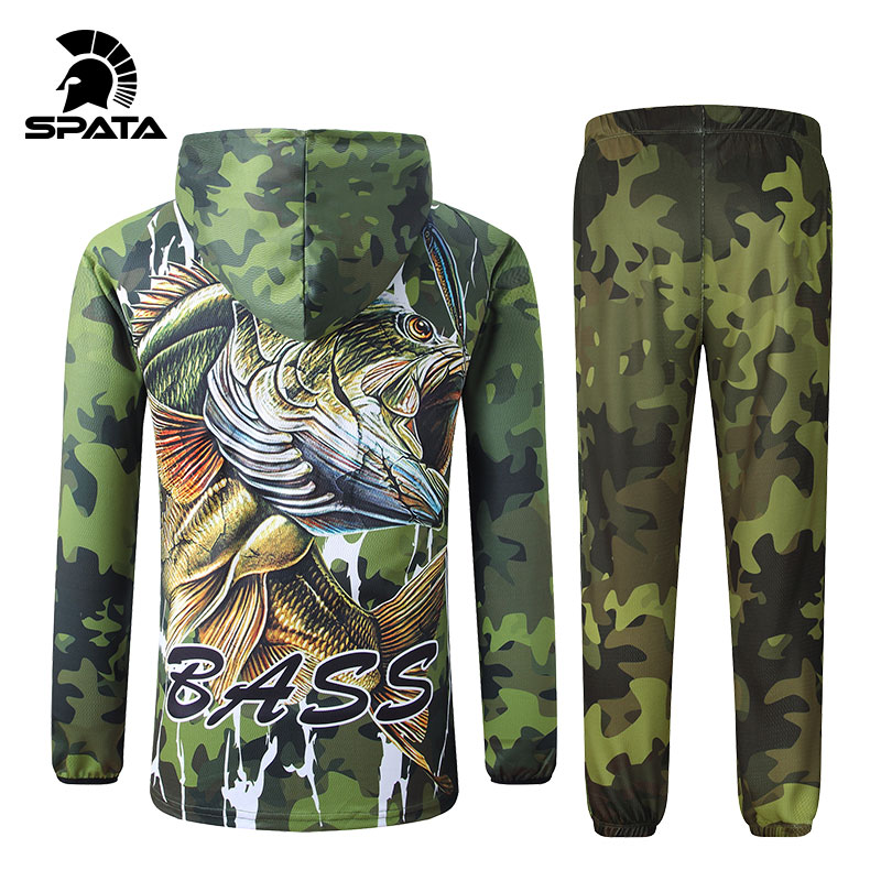 Fishing-Jacket-Set Shirt Long-Sleeve Sun-Protection SPATA Anti-Uv Camouflage BASS New