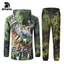 SPATA New BASS Fishing t Shirts Anti UV Sun Protection Long Sleeve mens Camouflage Fishing Jacket Set Shirt Clothing Clothes Big