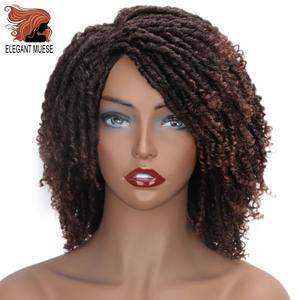 Image 1 - Pelucas sintéticas cortas y suaves para mujeres negras, elegante MUSES, fibra de alta temperatura, Dreadlock, degradado, Burg, cabello trenzado de ganchillo