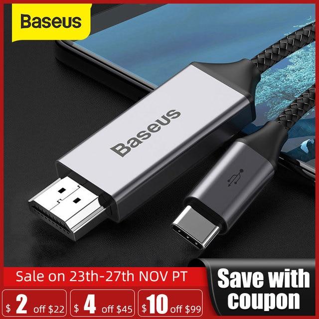 Baseus usb c hdmi cabo 4k 60hz tipo c para hdmi cabo adaptador de extensão para huawei p30 p40 pro samsung s20 s10 s9 oneplus 7