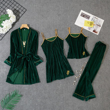 Velour Sleepwear Female with Chest Pads Sexy Women Pajamas Lace Sleep L